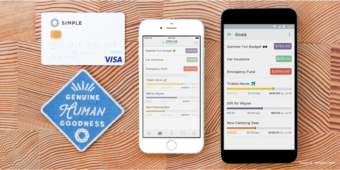 Simple mobile app running on smartphones next to Simple credit card